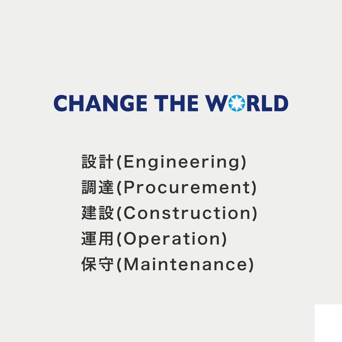 株式会社チェンジ・ザ・ワールド 設計(Engineering)・調達(Procurement)・建設(Construction)・運用(Operation)・保守(Maintenance)